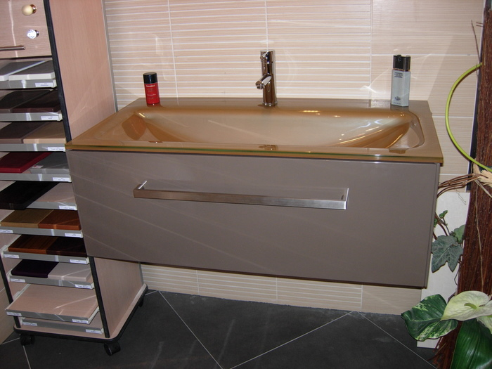 ital decor meuble 1 tiroir plan vasque en verre leroymerlin lavabo - Lavabo Salle De Bain En Verre